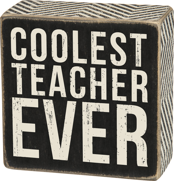 Coolest Teacher Wall / Desk Decor Box Sign - 4-in - Mellow Monkey