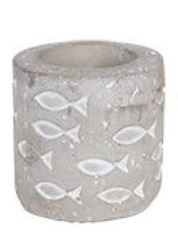 Cement Tealight Votive Holder with De-bossed Fish Print - 2.8-in