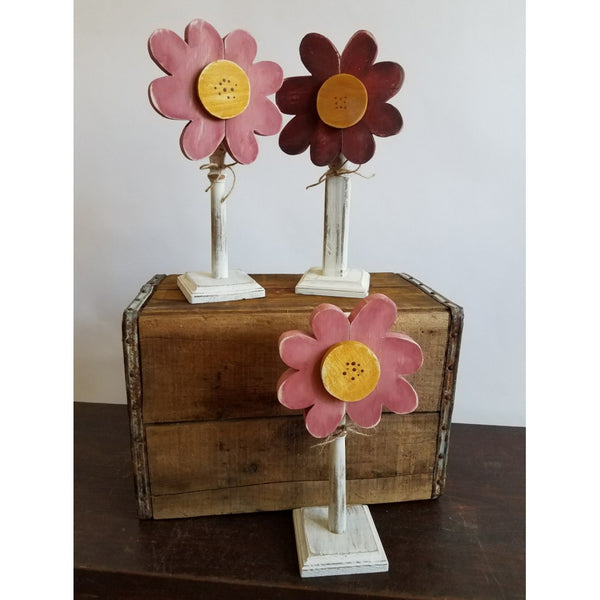 Cheerful Free Standing Colorful Flower  - Reclaimed Wood