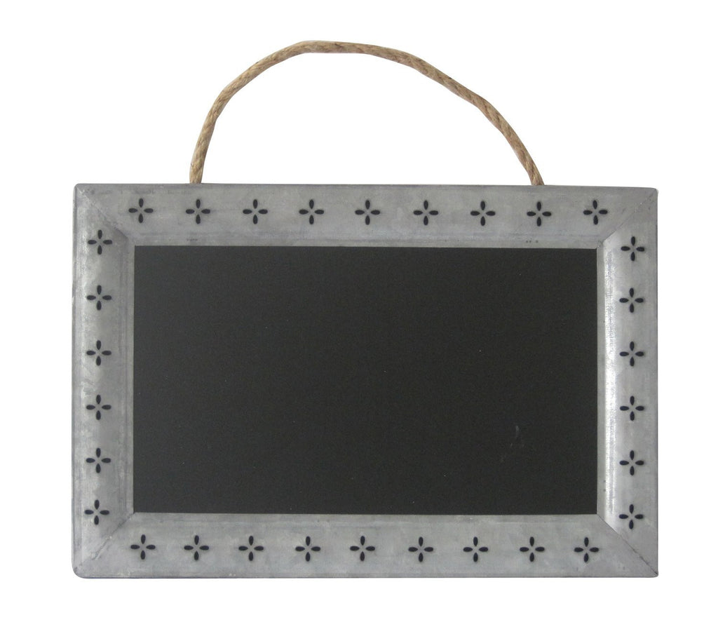 Galvanized Metal Frame Chalkboard with Cutout Petals And Hanging Rope - Mellow Monkey