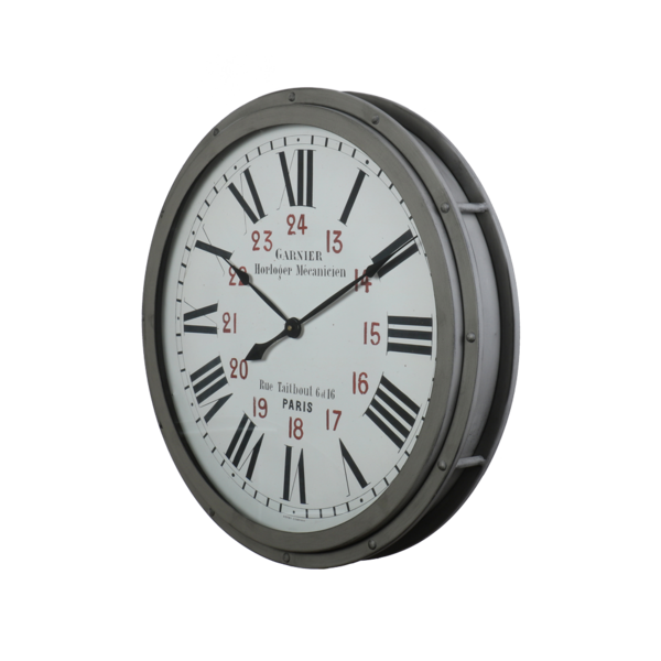 Garnier Grey Metal Wall Clock 22-in
