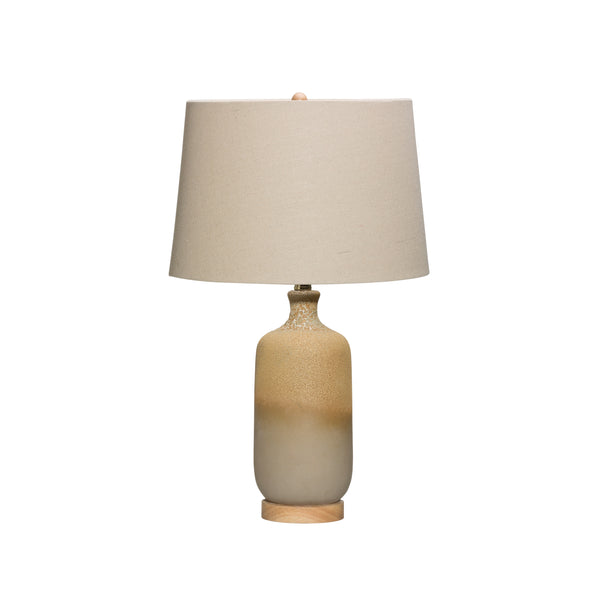 2-Tone Ceramic Table Lamp with Reactive Glaze Finish & Linen Shade (Each one will vary)