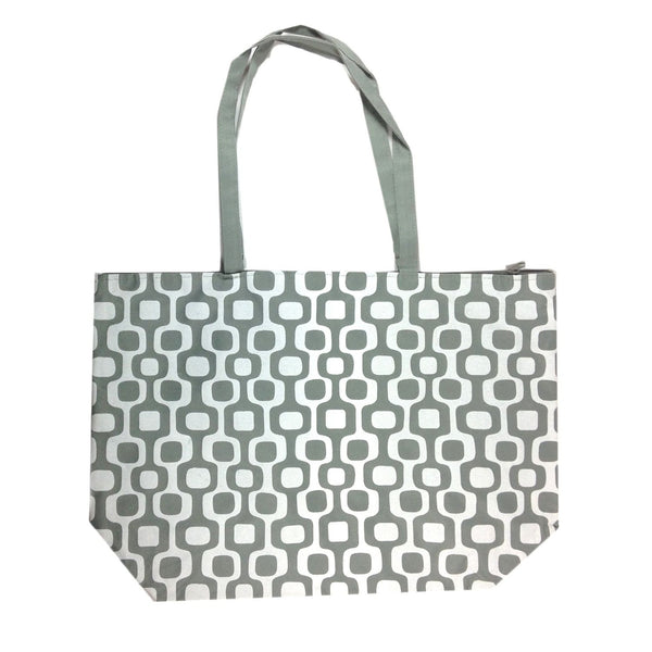 Colorful Large Beach Tote Bag with Bonus Cosmetic Bag - 21-in and 10-3/4-in (Grey & White Squares) - Mellow Monkey  - 1