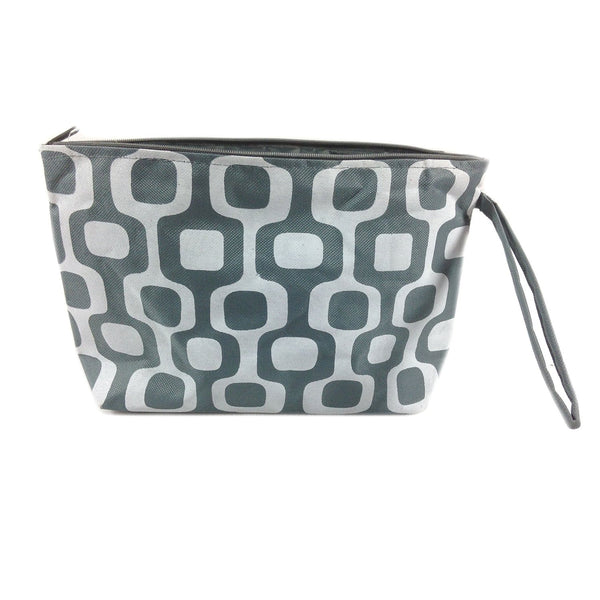 Colorful Large Beach Tote Bag with Bonus Cosmetic Bag - 21-in and 10-3/4-in (Grey & White Squares) - Mellow Monkey  - 2