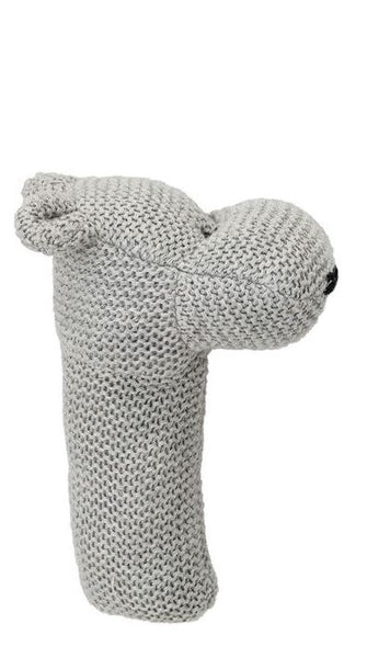Cotton Knit Rattle Gray  - 6-1/2-in