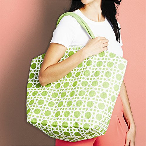 Colorful Lyford Lattice Pattern / Bamboo Style Print Jute Tote Bag (Mojito Green) - Mellow Monkey  - 1