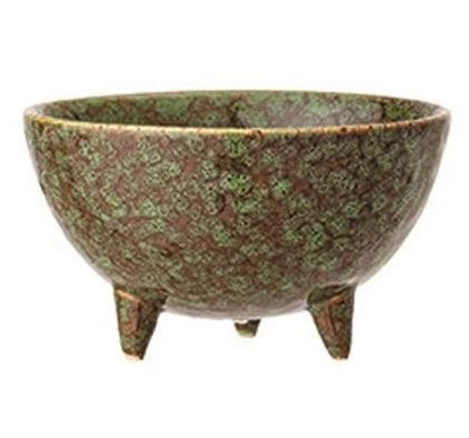 Stoneware Bowl with Reactive Glass 4-3/4-in