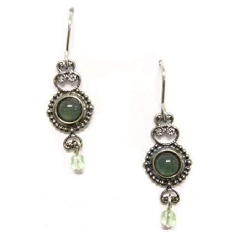 Silver Forest of Vermont Aventurine Green Stone Dangle Earrings
