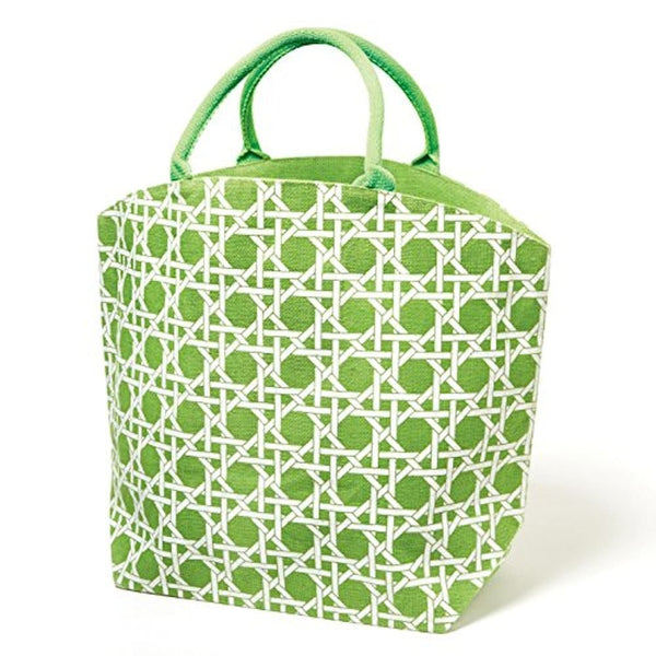 Colorful Lyford Lattice Pattern / Bamboo Style Print Jute Tote Bag (Mojito Green) - Mellow Monkey  - 2