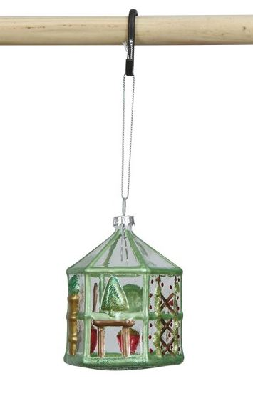 Hand Painted Glass Greenhouse Ornament - Green