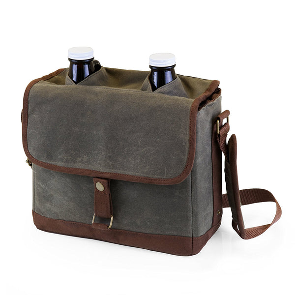 Insulated Double Growler Cooler Tote | Khaki Green/Brown