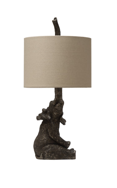 Resin Elephant Shaped Table Lamp with Linen Shade