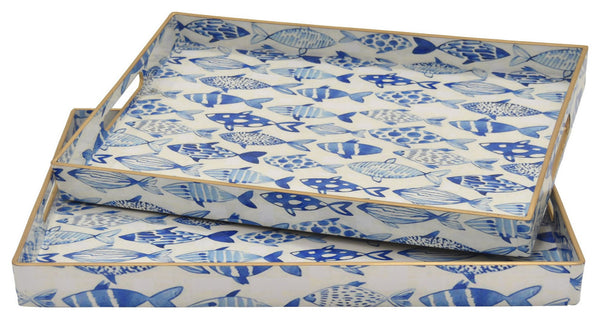 Blue and White Decorative Fish Tray