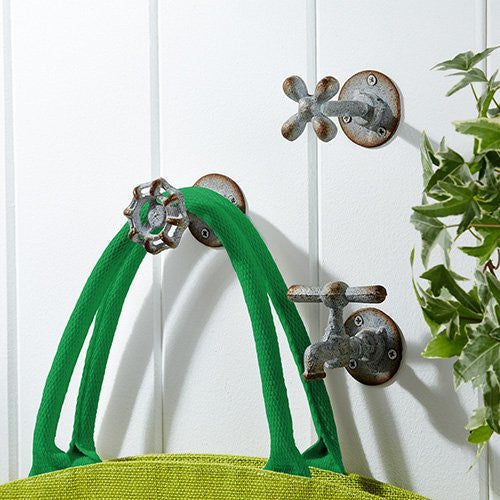 Vintage Garden Iron Faucet Wall Hooks - Set of 3