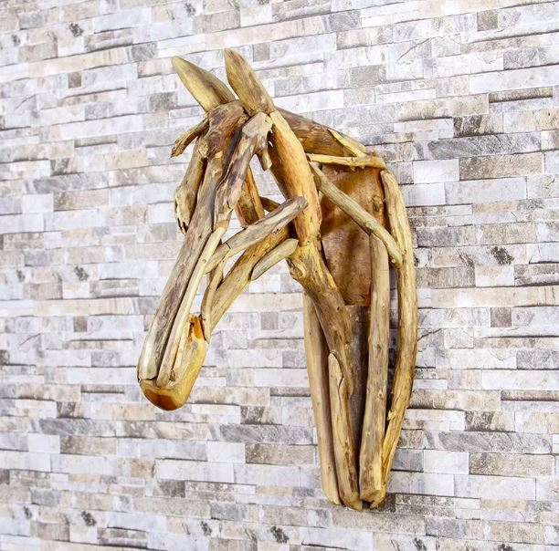 Harini Driftwood Running Horse Head | 24-in
