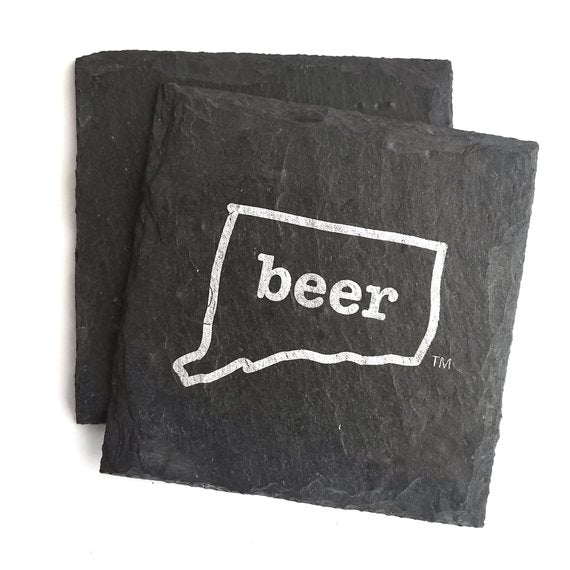 Connecticut Beer Slate Coaster - 4-in