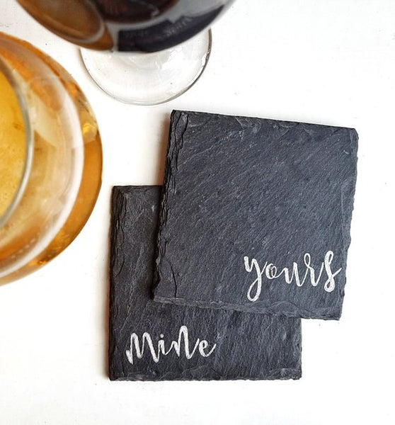 Mine Yours Slate Coaster Set - 4-in