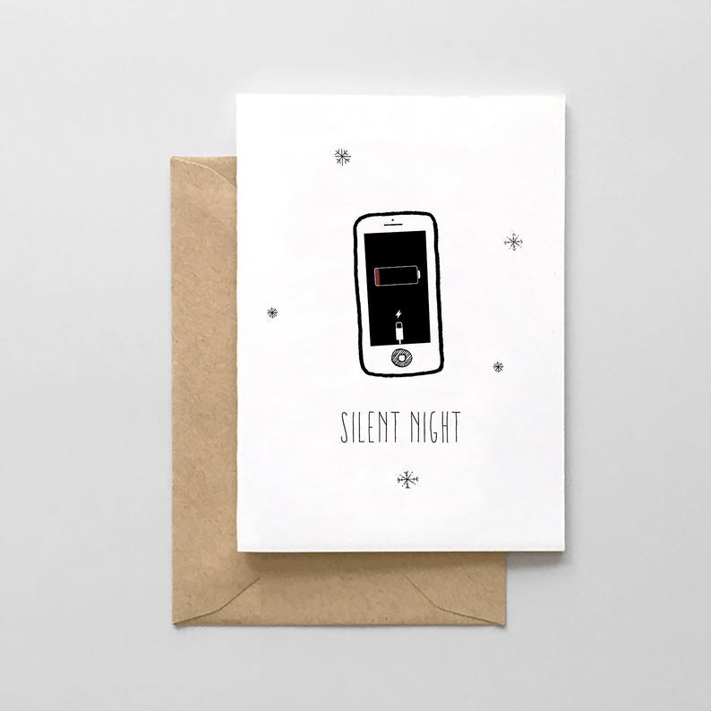 Silent Night Phone Battery - Funny Holiday Christmas Card