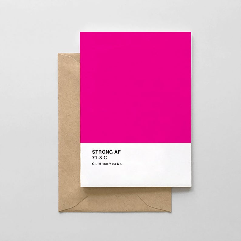 Strong AF Breast Cancer Survivor Pantone Greeting Card