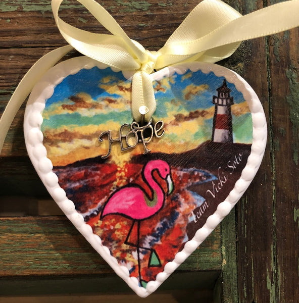 Vicki Soto Hearts of Hope Ornament - Flamingo On The Beach With Lighthouse