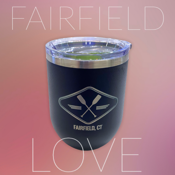 Fairfield Insulated Wine Tumbler with Coastal Paddle Design - 12-oz Navy