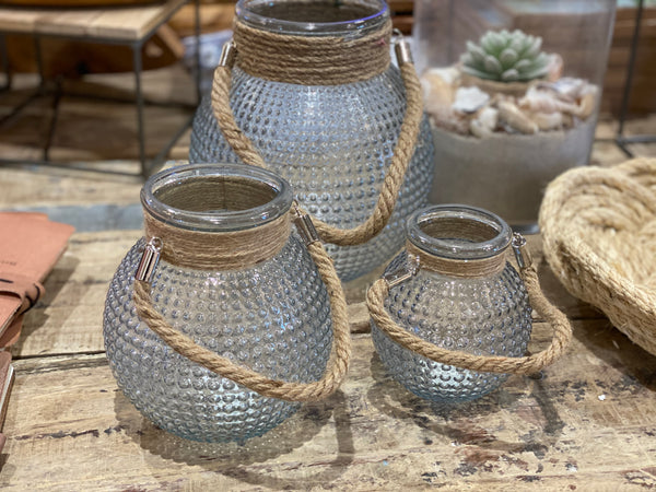 Harborside Hobnail Lanterns with Jute Rope