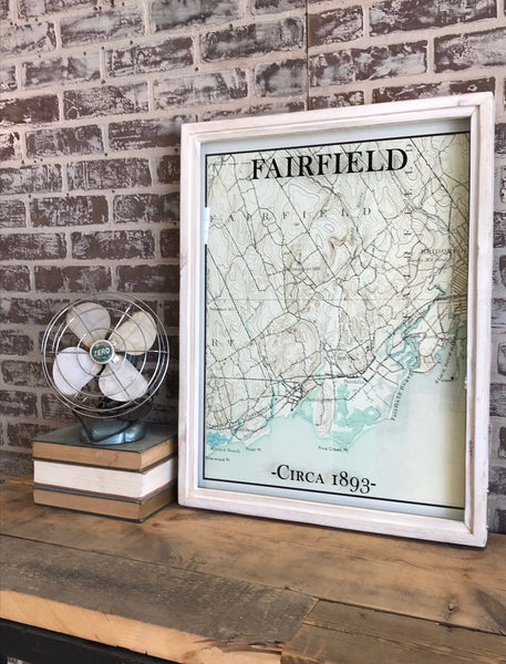Vintage Fairfield Connecticut Map Circa 1893 Framed Whitewash Shadowbox 27-1/2-in