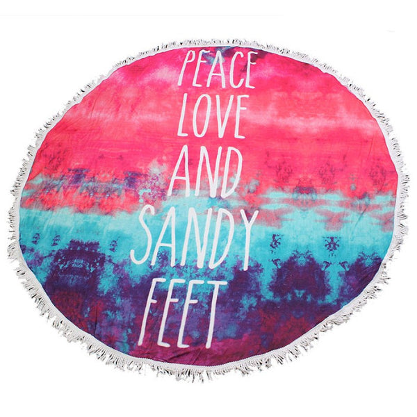 Fringed Jumbo Round Cotton Beach Towel with Tassels - Peace Love Sandy Feet