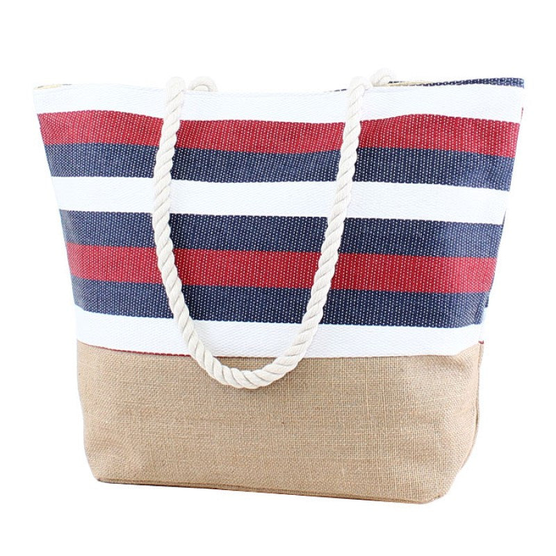 Natural Burlap Bottom Red White Blue Striped Print Straw Tote Beach Bag - 17-7/8-in - Mellow Monkey  - 1