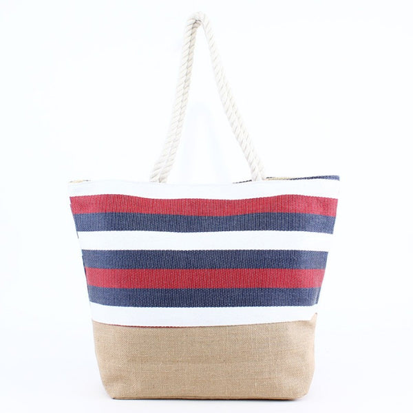 Natural Burlap Bottom Red White Blue Striped Print Straw Tote Beach Bag - 17-7/8-in - Mellow Monkey  - 2