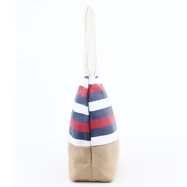 Natural Burlap Bottom Red White Blue Striped Print Straw Tote Beach Bag - 17-7/8-in - Mellow Monkey  - 4