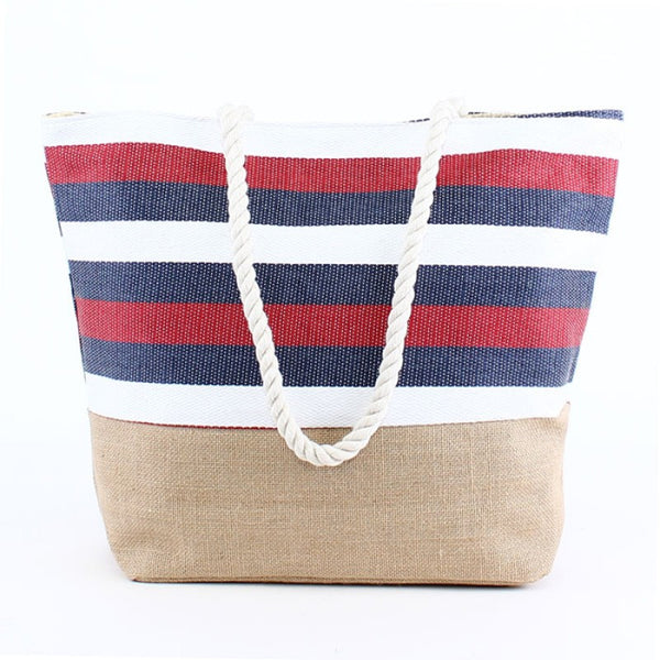 Natural Burlap Bottom Red White Blue Striped Print Straw Tote Beach Bag - 17-7/8-in - Mellow Monkey  - 3