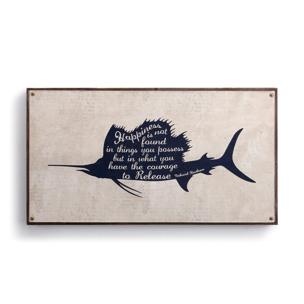 "Beyond the Shore - Sailfish Canvas Wall Art - 12"" H x 22"" W"