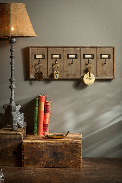Vintage Inspired Wooden Hotel Key Hook Board Rack (Small 5 Hooks) - Mellow Monkey