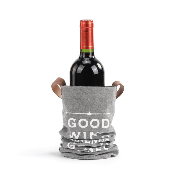 Good Wine Good Friends Good Times - Wine and Spirits Fabric Bottle Bag