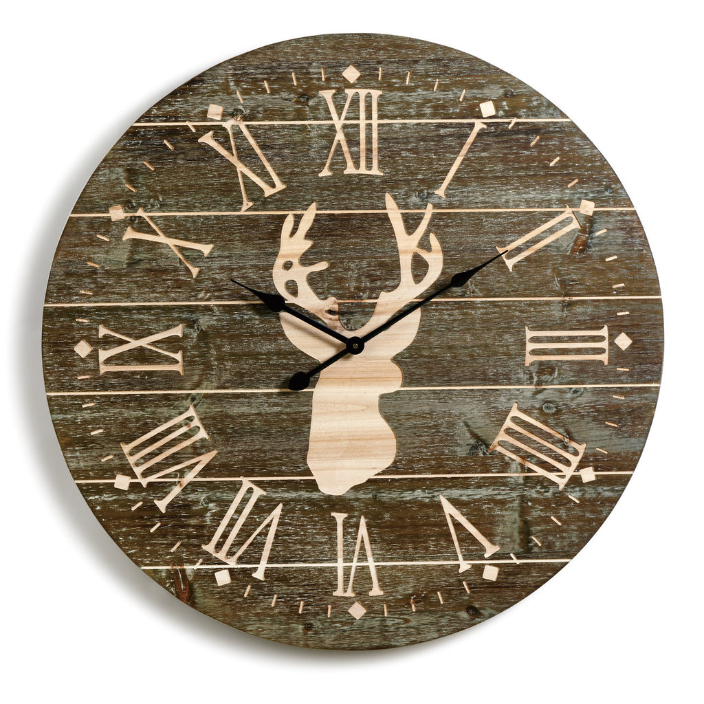 Jumbo White Tail Stag Decorative Clock for Lake, Lodge or Cabin - 31-1/2-in