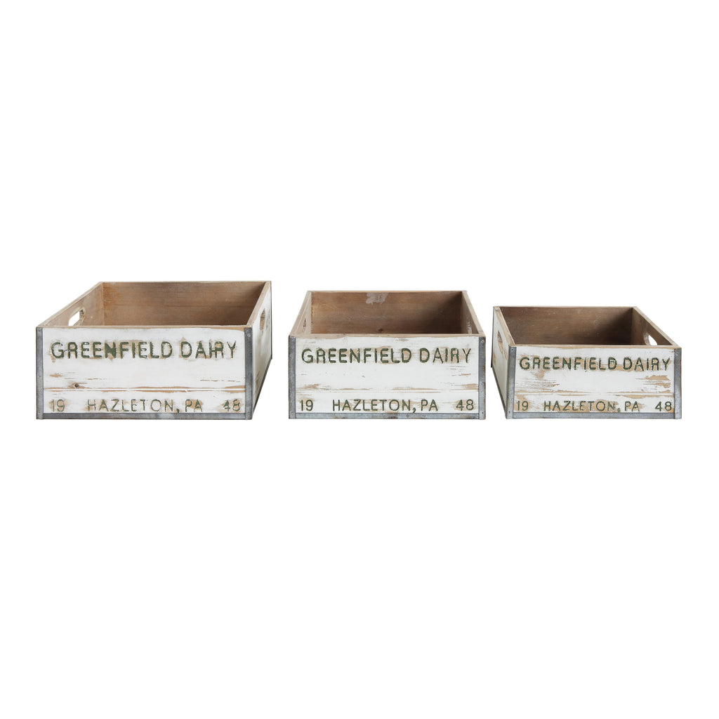 "Set of 3 ""Greenfield Dairy"" Boxes"