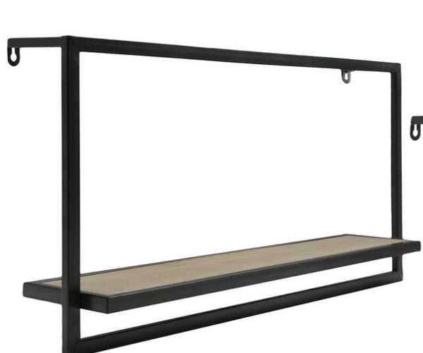 Metal and Wood Floating Wall Shelf
