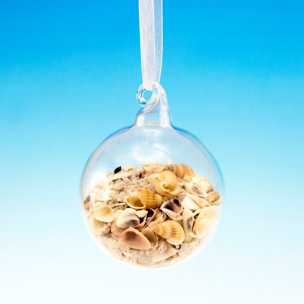 Glass Ornament Filled with Coastal Sand and Sea Shells - 60mm - Mellow Monkey  - 2