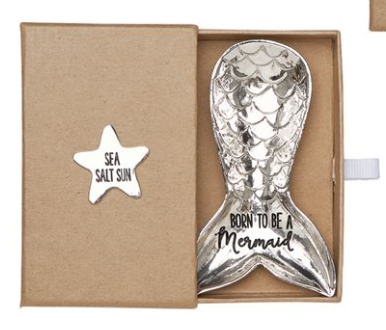 Mermaid Tail Metal Dish in Gift Box - Sea Salt Fun - Born To Be A Mermaid