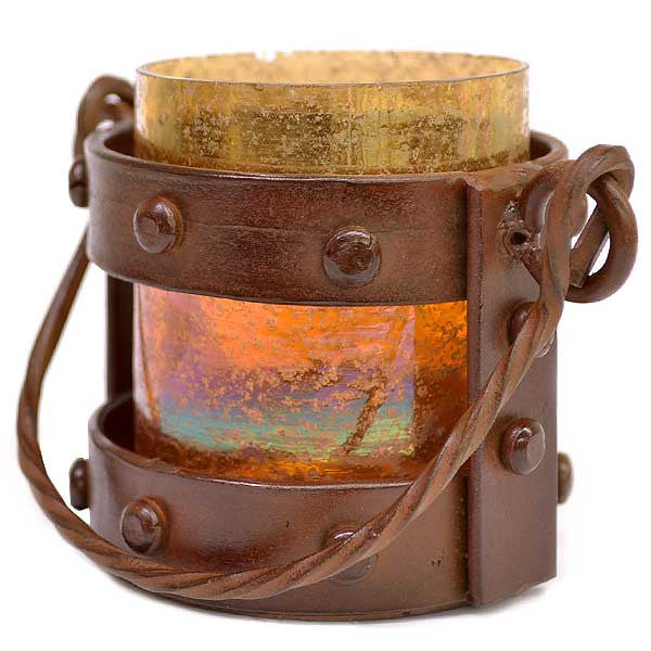Montana Rustic and Artifact Mission Votive Candle Lantern - 4-3/4-in - Mellow Monkey  - 1