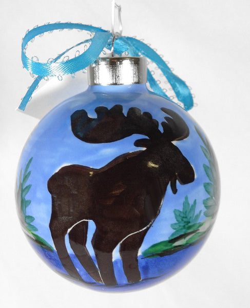 Hand Painted Lodge Moose Ceramic Ornament - SHARD Pottery of Maine - Mellow Monkey  - 1