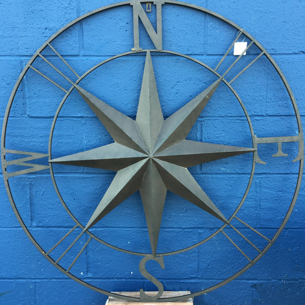 Jumbo Metal Wall Art Rose Compass - 39-in Vintage Brown