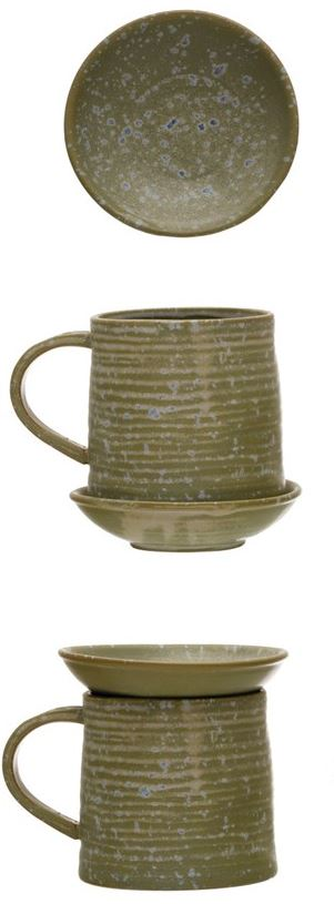 Stoneware Mug with Snack Plate Topper - Reactive Glaze - 12-oz.