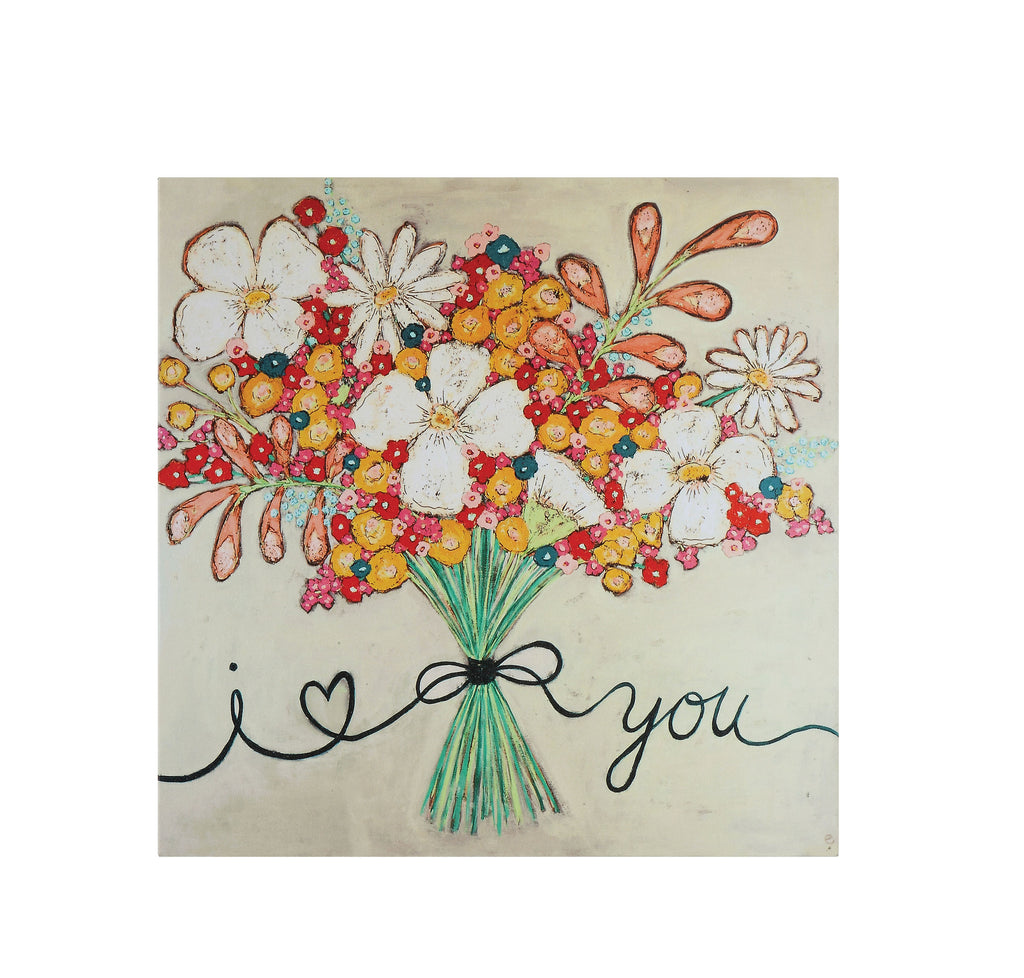 """I love You"" Floral Bouquet Canvas Wrapped Wall Décor"