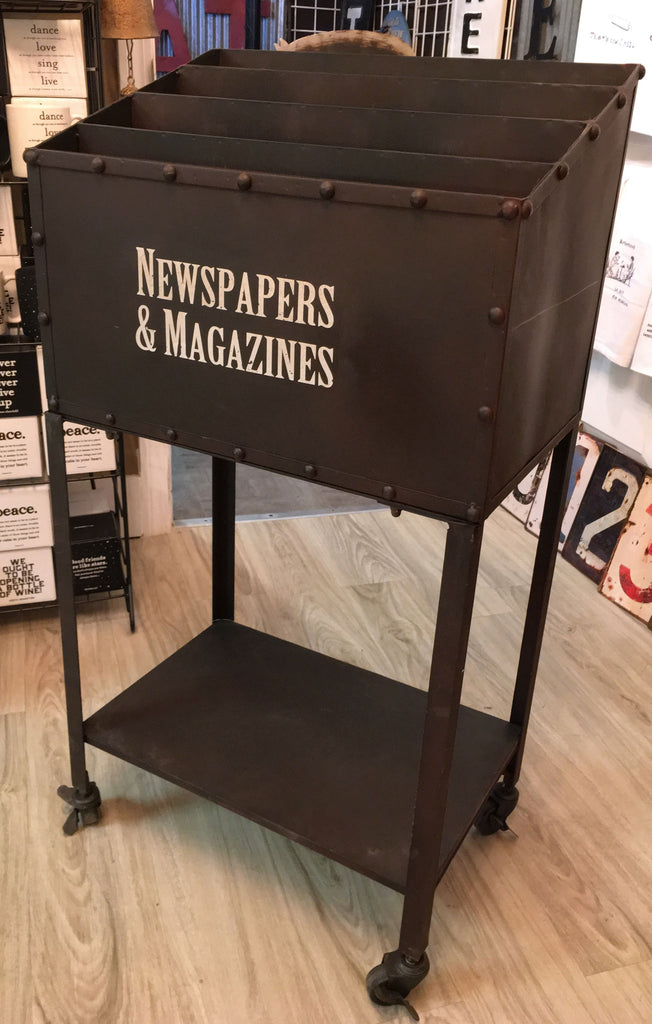 Newspapers and Magazines Vintage Library Rolling Cart with Shelf