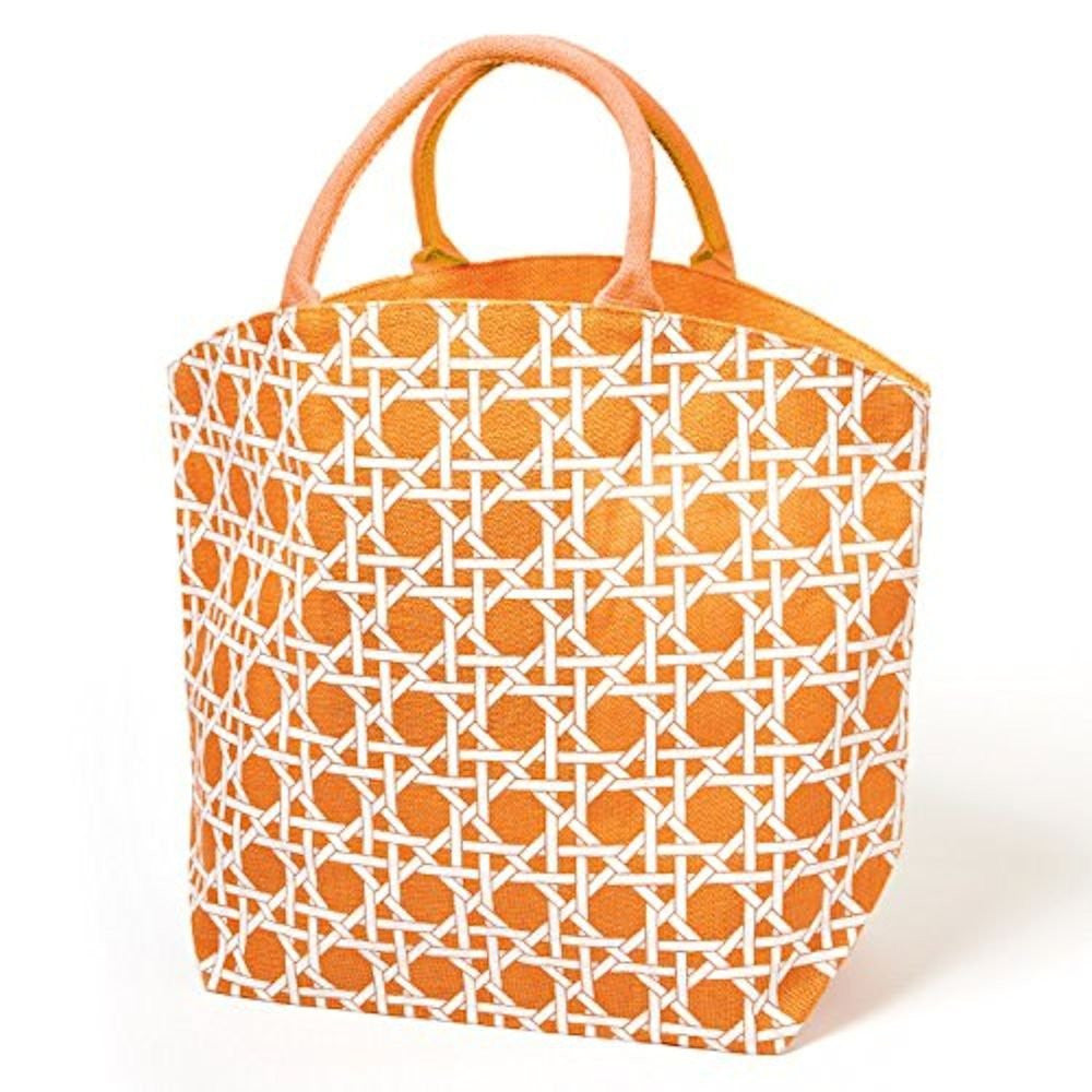 Colorful Lyford Lattice Pattern / Bamboo Style Print Jute Tote Bag (Naval Orange) - Mellow Monkey