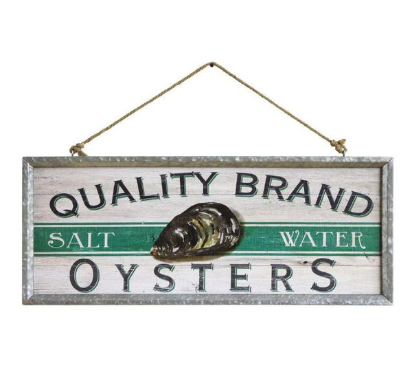 Quality Brand Salt Water Oysters - Vintage Galvanized Metal Framed Wood Wall Decor