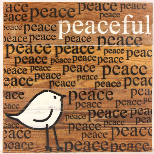 Peaceful (Peace Peace Peace) - Reclaimed Repurposed Wood Wall Decor Art with Bird - 14-in - Mellow Monkey