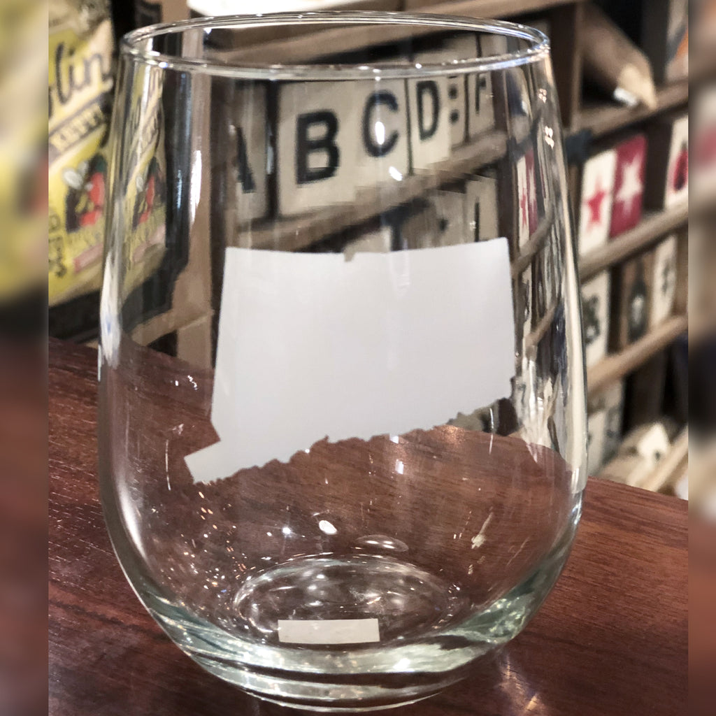 Connecticut State Stemless Wine Glass